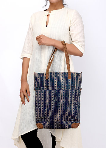 Vegan Leather and Dabu Printed  Tote cum sling  bag