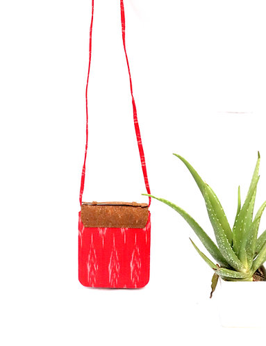 Vegan Leather and Red Ikat Hand bag cum sling