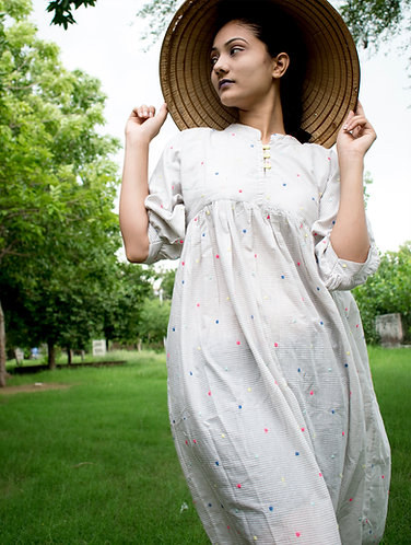 Ivory Dotted Embroidery Loose Fit Cotton Dress