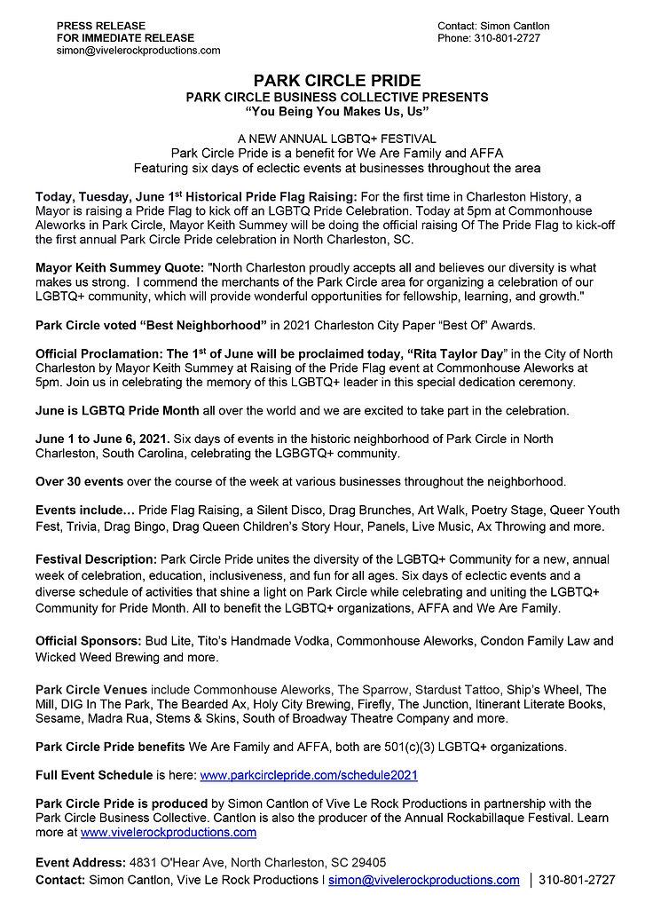 Media Release 2021 -  Park Circle Pride