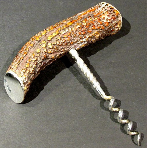 A 20th Century Sterling Silver & Stag Horn Handled Corkscrew