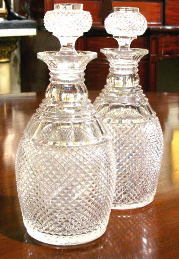 A Fine Pair of 19th Century Cut Glass Spirit Decanters. English, Circa 1840