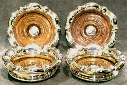 A Very Good Suite of Four 19th Century Silverplated Wine / Decanter Coasters