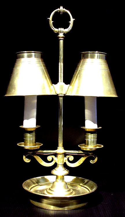 A Very Good Twin Branch Bouillotte Lamp / Students Lamp, Circa 1950