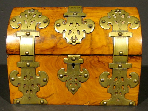A Very Good 19th Century Gothic-Inspired Brass Bound Walnut Document Box