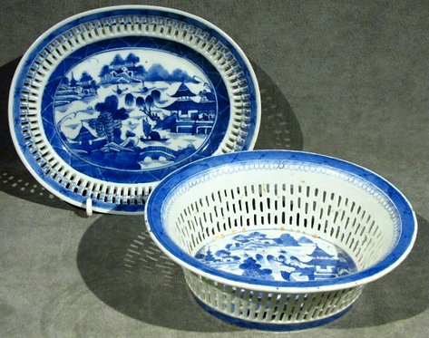 A 19th Century Chinese Export Porcelain Chestnut Basket & Flat