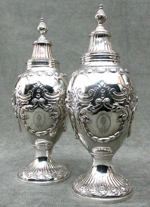A Very Fine Pair of George III Sterling Silver Tea Caddies by Thomas Daniel