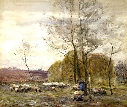 'Haying in the Meadow',Claude Hayes (1852-1922) RI, ROI, RWS. Irish.