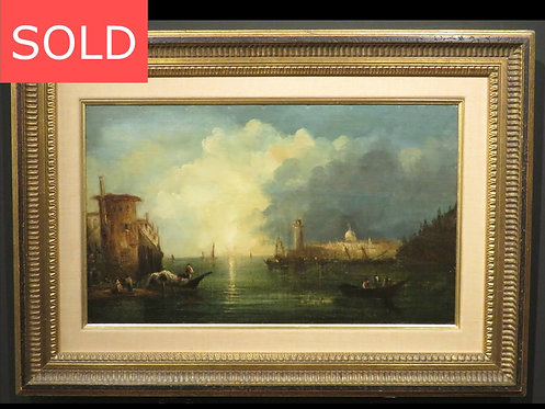 18th Century Italian Coastal Landscape of The Grand Canal, Dated 1736