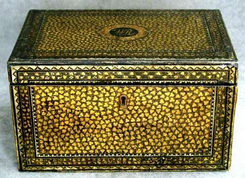 An Exceptional 19th Century Chinese Export Black Lacquer Tea Caddy, Guangzhou