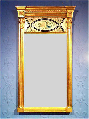 A Very Fine Regency Period Giltwood & Eglomise Panelled Hall Mirror
