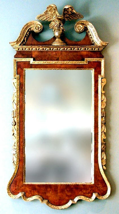 A George II Period Walnut Framed and Parcel-Gilt Looking Glass