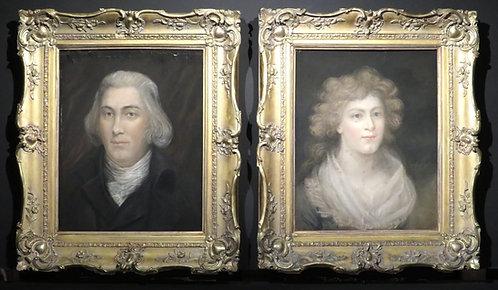 A Pair 18th Century Georgian Portraits in Fine Giltwood Frames, Irish Circa 1790