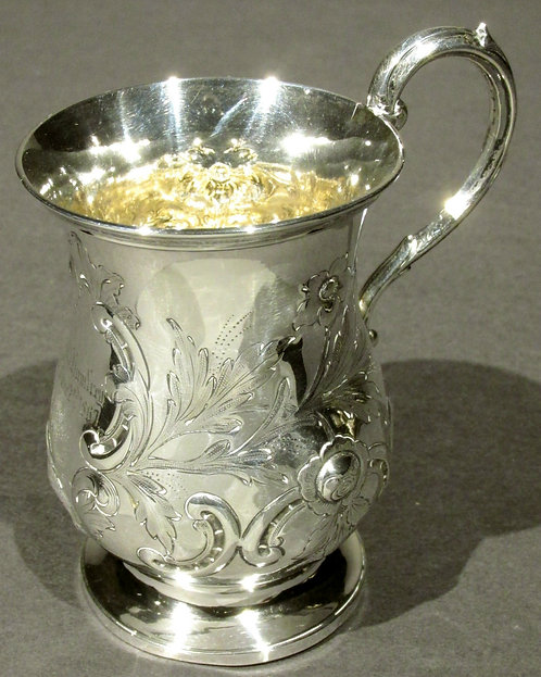 A Very Good & Heavy 19th Century British Sterling Silver Christening Mug, London