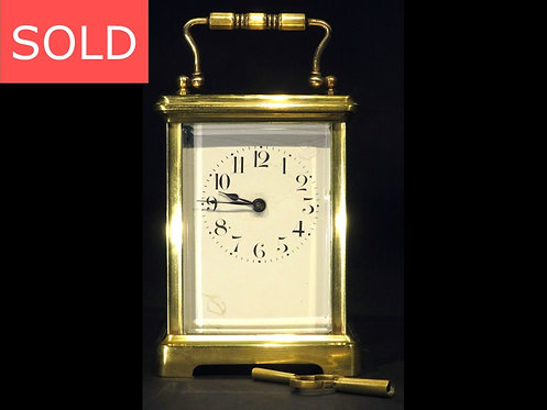 An Antique French Brass Carriage Clock of British Military Interest, Dated 1918