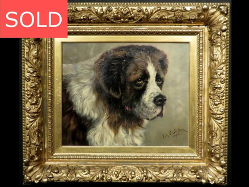 19th Century Portrait of a Saint Bernard, Signed & Dated Lily Irene Jackson 1893