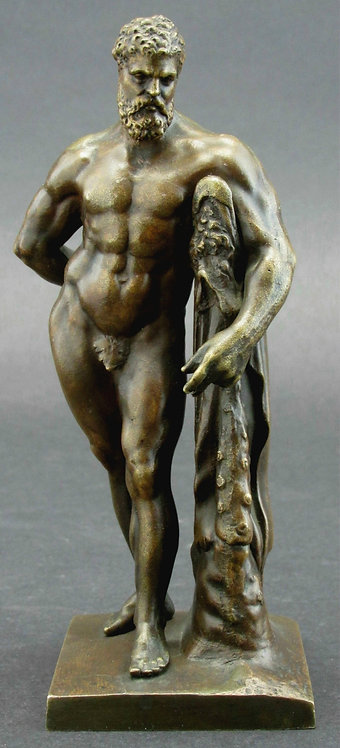 A Very Good 19th Century 'Grand Tour' Desk-Top Bronze of the Farnese Hercules