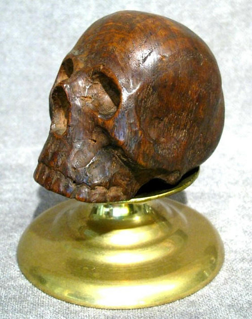 An Intriguing Treen Element Carved in the Form of a Human Skull