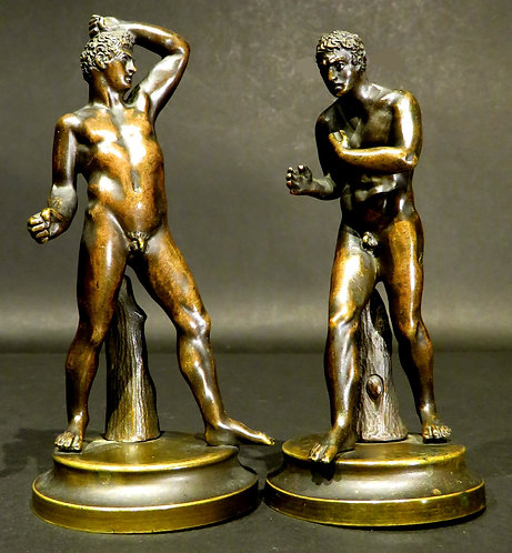 A Fine Pair of 19th Century Grand Tour Miniature Bronzes of The Pugilists, Italy
