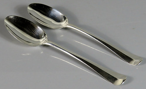 A Rare Pair of George I Sterling Silver Hanoverian Tablespoons