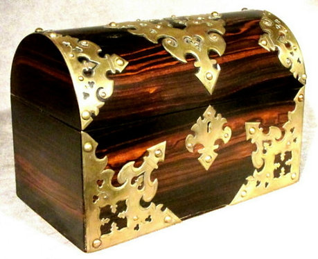 A Richly Figured 19th Century Brass-Bound Coromandel Stationary Box, English