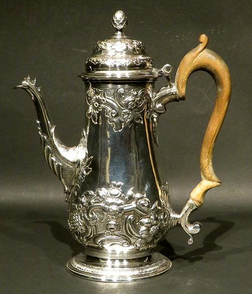 A Fine Georgian Sterling Silver Coffee Pot by William Bateman 1st, London 1819
