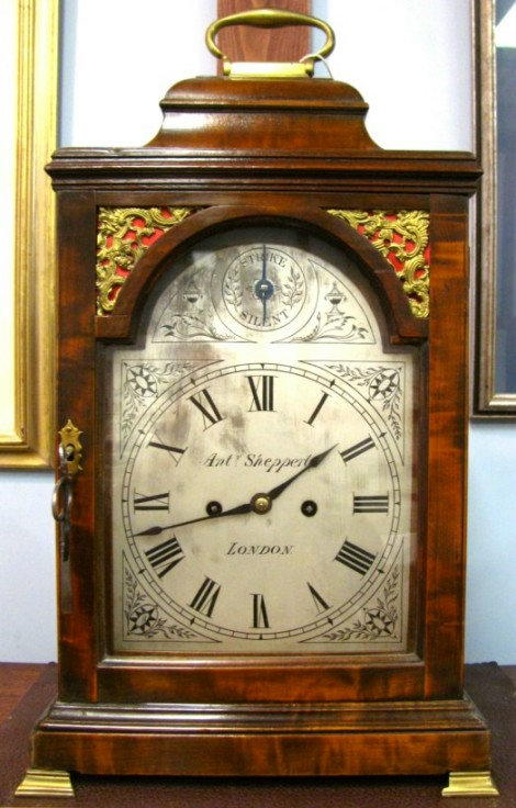 Very Good George III Mahogany Bell Top Bracket Clock, Signed Anthony Shepperley