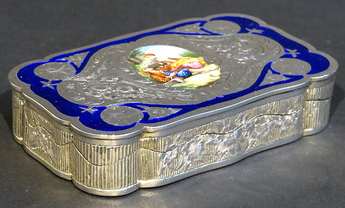 A Very Fine 19th Century Austro-Hungarian Silver (.750 fine) and Enamel Snuffbox