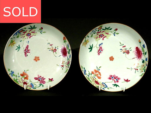 Pair of 18th Century Chinese Export Famille Rose Porcelain Celadon Ground Dishes