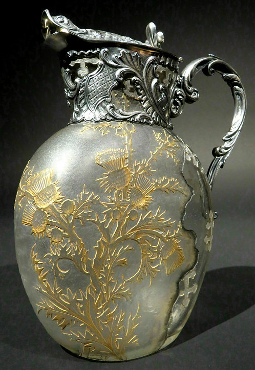 A Very Fine French Silver and Daum Glass Wine Ewer, France, circa 1870
