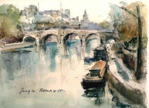 'Houseboats on the Seine' Georges Dominique Rouault (1904-2002) French