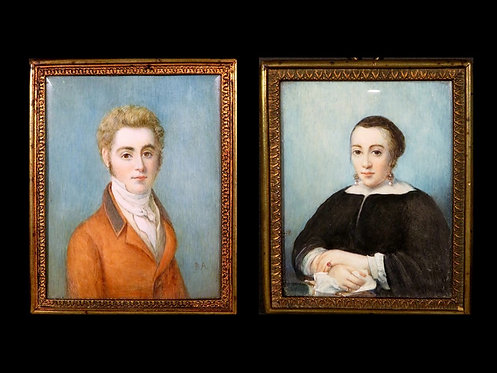 A Large Pair of Early 19th Century Hand Painted Portrait Miniatures