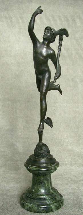 A 19th Century 'Grand Tour' Desk-Top Bronze of Hermes / Mercury, Continental
