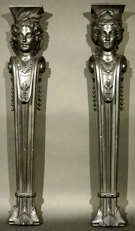 An Exceptional Pair 19th Century Allegorical Terms / Jambs, Continental