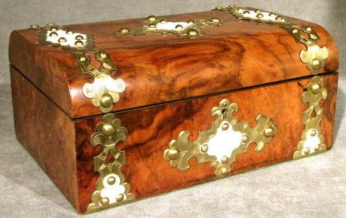 A Fine 19th Century Brass Bound Document Box in Burr Walnut, English Circa 1860