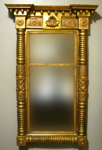 A Very Good American Classical-Period Giltwood Looking Glass or Pier Mirror