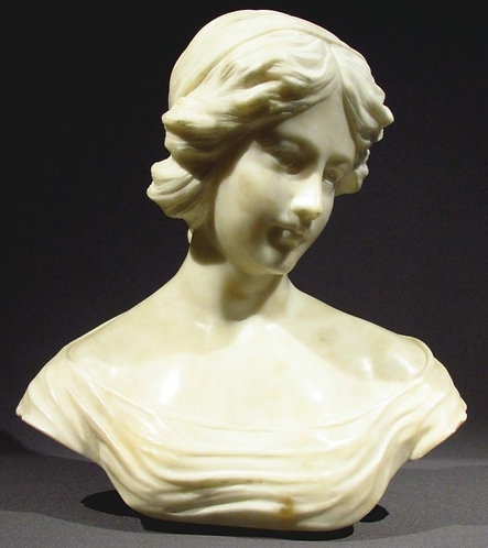 A Finely Sculpted Alabaster Portrait Bust of a Young Woman, Continental