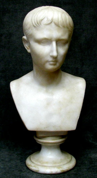 A Finely Carved 19th Century White Marble Bust of a Young Augustus Caesar