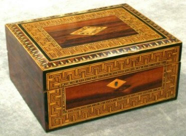 A Very Fine Rosewood and Tunbridge Ware Writing Box, English Circa 1840