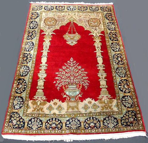 A Very Fine Persian Silk-on-Silk Prayer Rug, Circa 1950