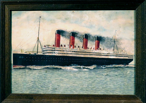 An Early 20th Century Folk Art Watercolour of RMS Aquitania, Canadian / English