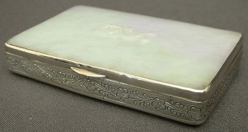 A Very Fine Chinese Export Silver and White Jadeite Snuff Box, Circa 1850