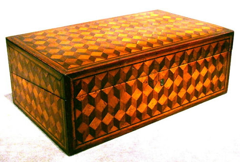 A Highly Decorative 19th Century 'Tumbling Block' Parquetry Writing Box, English