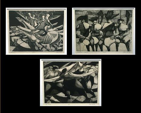 Three Etchings by John Nathaniel Fenton (1929-1977) American