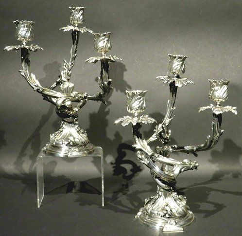 A Very Good Pair of Louis XV Style Silvered Bronze Candelabra, France Circa 1870