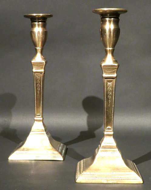 A Rare Pair of 18th Century Candle-Gripping Bell Metal Candlesticks, UK