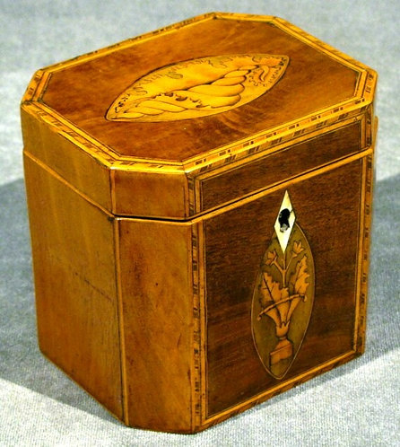 A Very Fine George III Mahogany and Marquetry Tea Caddy, England Circa 1790