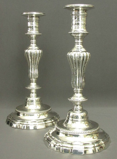 A Fine & Rare Pair of Louis XV Cast Bronze Silver Plated Candlesticks