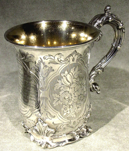 A Very Fine & Heavy 19th Century Sterling Silver Mug / Tankard