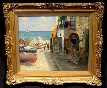 'Fishermen's Houses, Capri' Coastal Landscape by Paolo Pratella, (1892-1980)